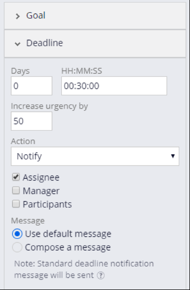Check assignee in the Deadline section.