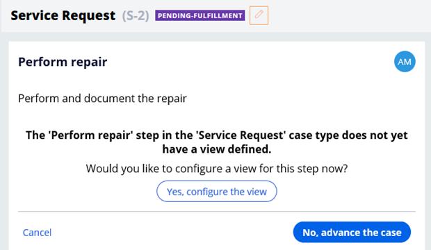 Case status perform repair