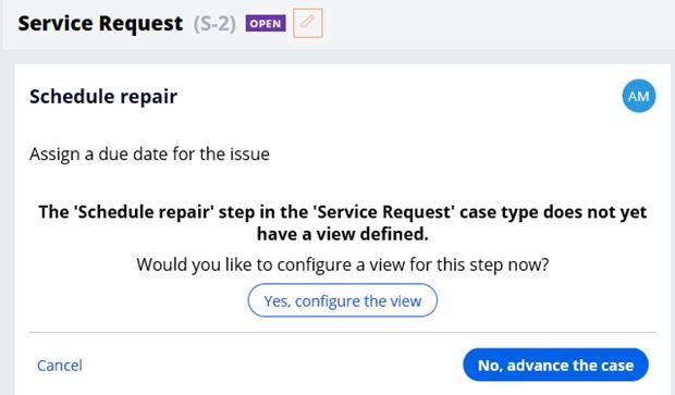 Case status schedule repair