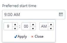 preferred start time