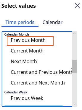 Report Browser Previous Month Symbolic Date