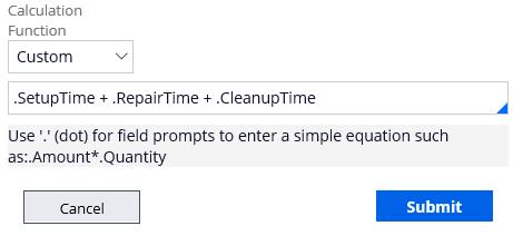Enter custom calculation