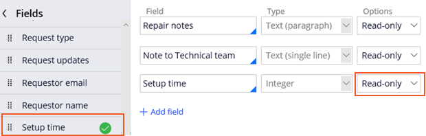 Add setup time fields to review repairs view