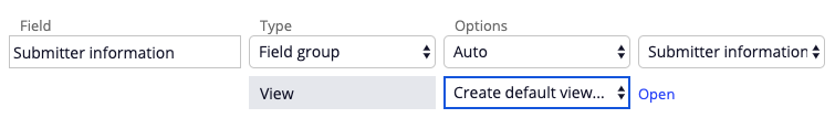 create default view for a step