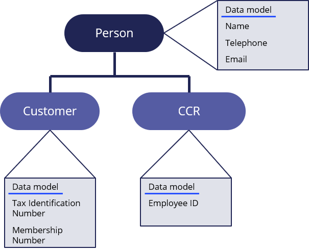 Person parent data object, customer and call center representative child data types