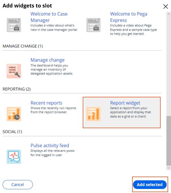 Add Report widget