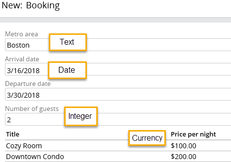 booking example field types