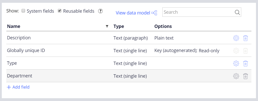 request type data type fields