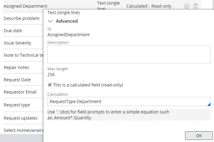 Assigned Department calculated field