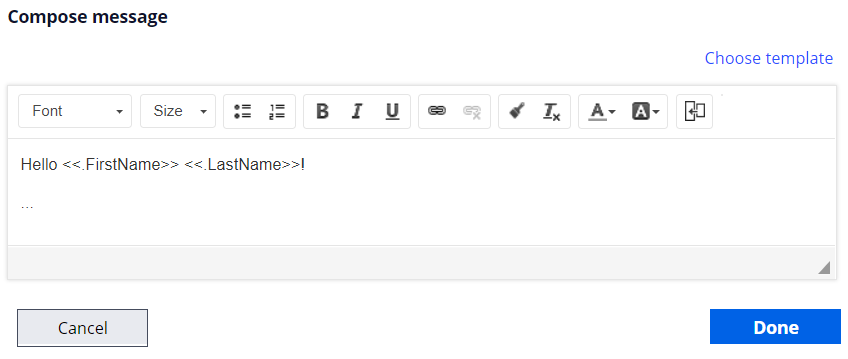 compose email message greeting property references