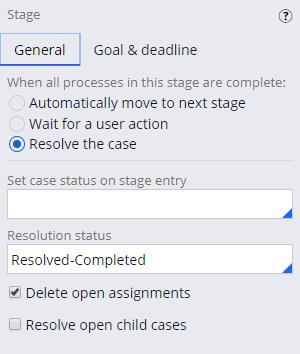 Resolution stage status
