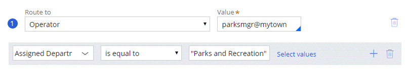Routing an assignment using business logic. This condition routes the assignment to the parks manager when the assigned department is Parks and Recreation