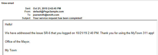 Sample email output