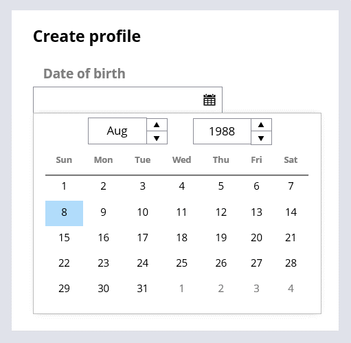 Create profile view has a date of birth field that is associated with a Date Time control