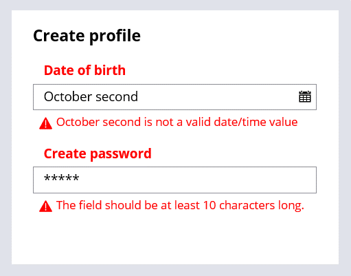 The date of birth can only be entered using the calendar control and the Create password field has a minimum character restriction of 10 characters.