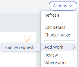 Accessing the Cancel request optional process
