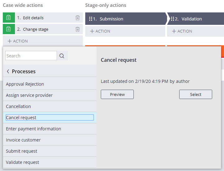 Add the Cancel request process as a case wide optional action