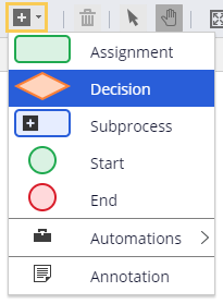 Add a decision shape in the process modeler