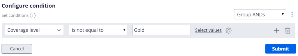 configure condition modal dialogue box coverage level is not equal to gold