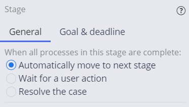 stage configuration pane automatically move to next stage
