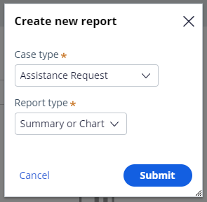 Create new report dialog