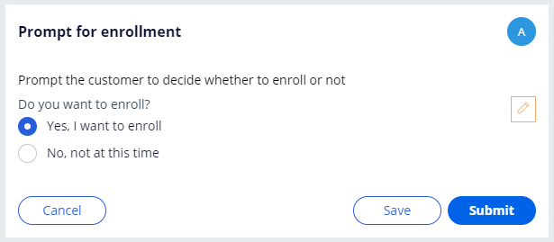 Prompt for enrollment view