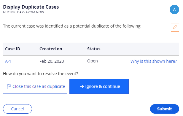 Display duplicate cases view