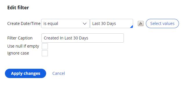 Edit a reporting filter