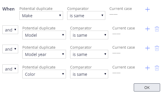 Basic condition for the Search duplicate cases automation