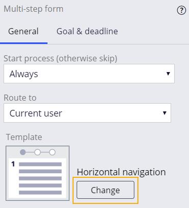 multi-step form configuration pane change navigation