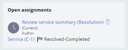 open assignments service case resolved completed