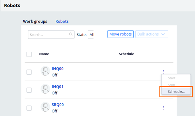 Schedule robot list