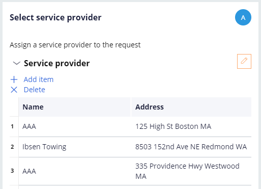 Select service provider view