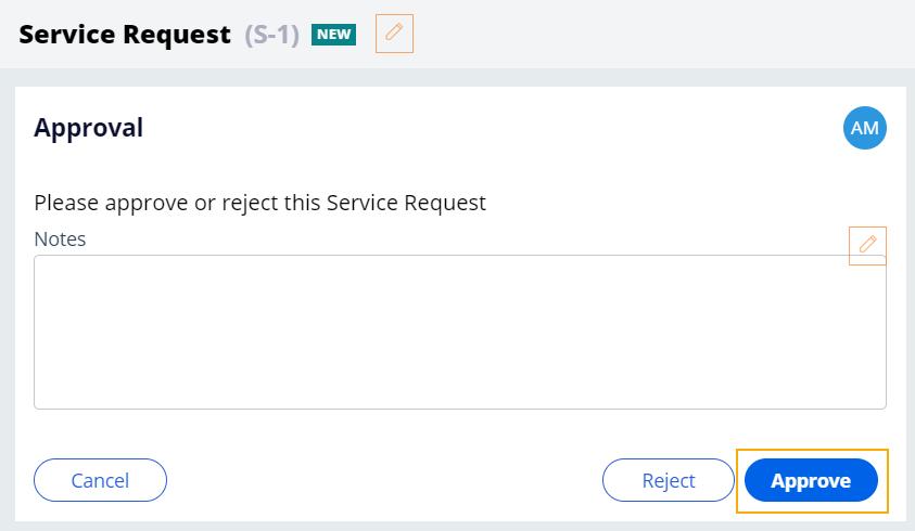 service request case approve
