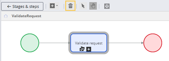 Delete the Approve/Reject shape in the Validate request process