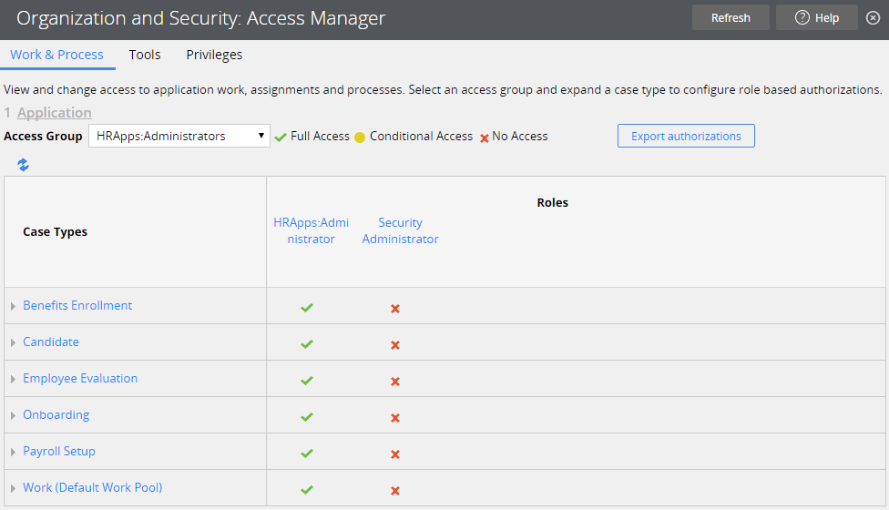 access manager base screen 1