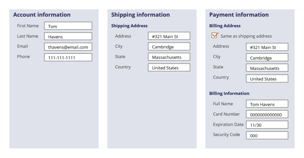 Example of how data transforms are used in a checkout example