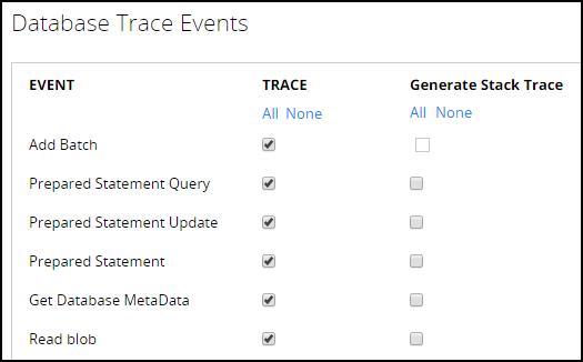 db trace options