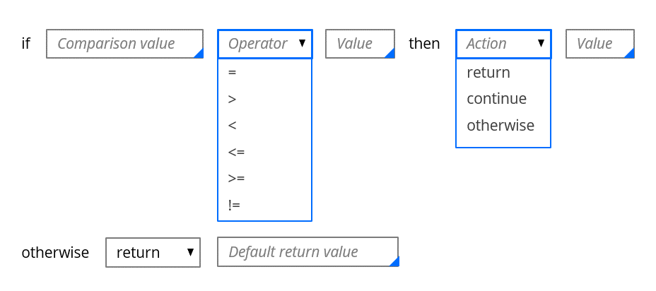 Image of the configuration form for a decision tree