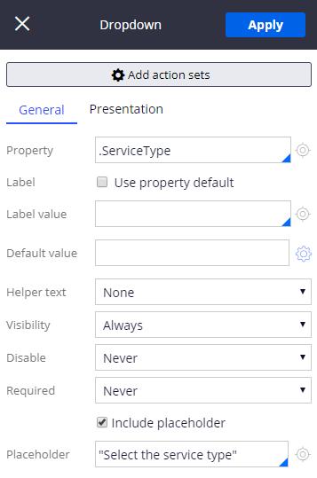 General tab when editing a control