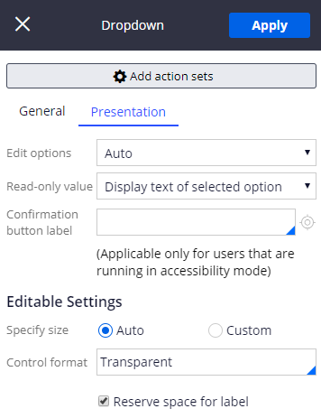 Presentation tab when editing a control