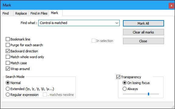 notepad plus mark window