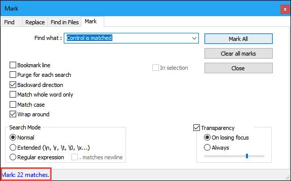 notepad plus mark window marked