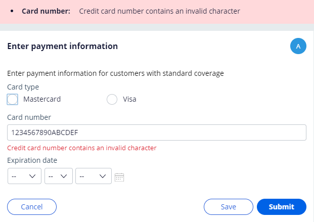 Validation of the card number field fails, prompting the user with an error message