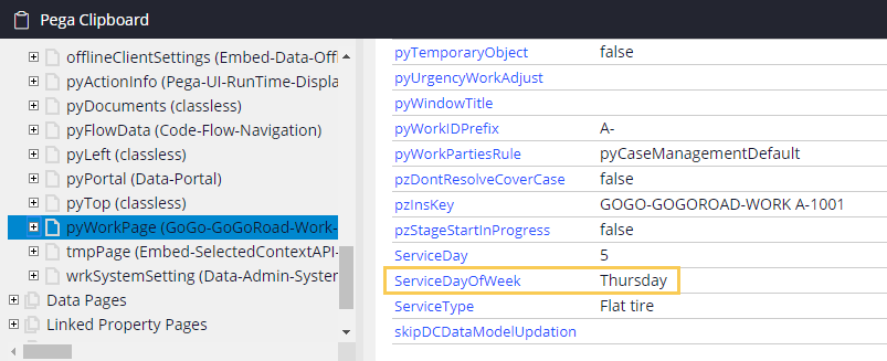 Clipboard shows the ServiceDayOfWeek value matches the current day of the week
