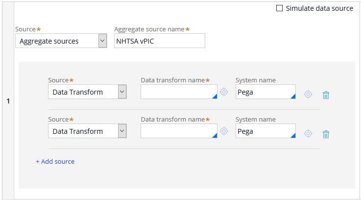 Data page configured with an aggregate source consisting of two data transform calls