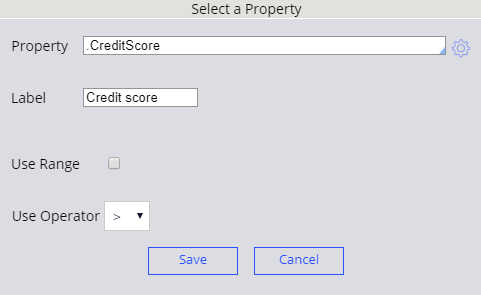 Select a property for decision table header