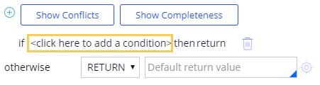 Click to add a condition link when configuring a decision tree