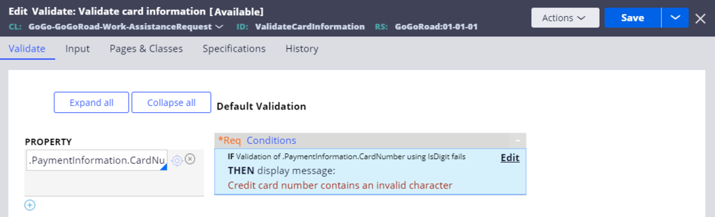 Validate card information condition