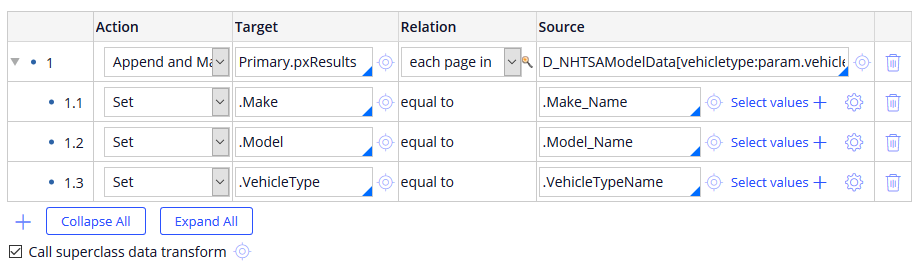Definition tab of the MapModels data transform, demonstrating the completed configuration